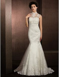 Trumpet/Mermaid High Neck Court Train Lace And Tulle Wedding Dress
