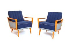 Pair of Blue Lazy Recliners #blue #classic #chair #midcentury