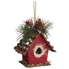 My Xmas Style 2013 - Burlap Birdhouse Ornament (correction sue rabe / not jan ward- several) Cabin Christmas, Christmas Bird, Woodland Christmas, Christmas Makes, Rustic Christmas, Christmas Holidays, Decoration Christmas, Diy Christmas Ornaments, Homemade Christmas