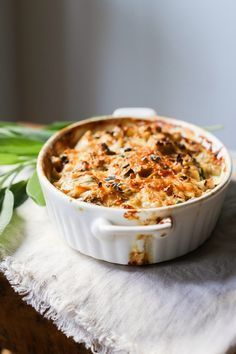 Cauliflower Gratin with Garlic and Sage, a delicious and simple fall side dish| http://www.feastingathome.com