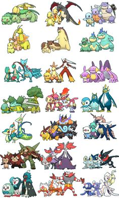 All the starter #Pokemon and their evolutions from all 7 gens so far. http://www.pokemondungeon.com