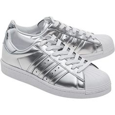 ADIDAS ORIGINALS Superstar Boost Silver Metallic // Sneakers with... (445 BRL) ❤ liked on Polyvore featuring shoes, sneakers, adidas, adidas originals shoes, faux leather sneakers, metallic silver sneakers, metallic shoes and striped sneakers