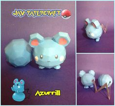This pokemon papercraft is Azurill, a dual-type Normal/Fairy baby Pokémon, and prior to Generation VI, a pure Normal-type Pokémon, based on the anime / gam 3d Paper Crafts, Paper Toys, Paper Art, Baby Pokemon, Type Pokemon, Papercraft Pokemon, Z Craft, Papercraft Download, Baby Fairy
