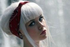 white hair , bangs