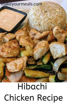 No need to go to a Japanese Steakhouse - make your own Hibachi Chicken at home! recipes Hibachi Chicken and Vegetables Recipe - Japanese Steakhouse Cuisine Hibachi Chicken And Vegetables Recipe, Vegetable Recipes, Hibachi Chicken And Shrimp Recipe, Hibachi Shrimp, Hibachi Steak, Barbecue, Salads, Gourmet, Recipes