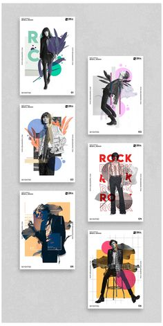 Seventies #poster #background #design #layout Poster Graphic Design Collection about Seventies Fashion and Rock Culture with Digital Collage elements and Minimal style.