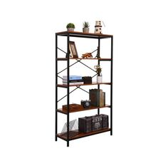 Unique Bookshelves, Bookcases For Sale, 4 Shelf Bookcase, Bookshelf Storage, Wooden Bookcase, Wood Bookshelves, Industrial Bookshelf, Display Shelves, Industrial Style
