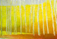 Wolf Kahn Pale Yellow Strand of Trees, oil on canvas, 36 x 52 inches Yellow Art, Mellow Yellow, Landscape Art, Landscape Paintings, Landscapes, Pastel Art, Realism Art, Collage, Art Classroom