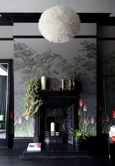Edwardian Cast Iron Fireplace **Walls, molding, and fireplace are gorgeous! The lamp is dreadful, tho** Deco Baroque, Living Room Decor, Bedroom Decor, Diy Platform Bed, Bold Wallpaper, Wallpaper Designs, Japanese Interior Design, Dark Interiors, Shop Interiors