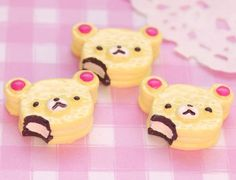 These cute yummy bitten Japanese style bear cakes flat back cabochons are perfect for all kinds of kawaii craft projects. #Craft #JewellryMaking