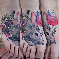 Bunny and a teacup by Cody Eich. #InkedMagazine #bunny #rabbit #teacup #foot #tattoo #tattoos #inked