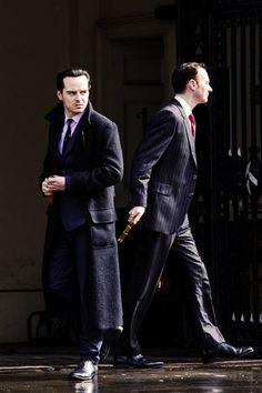 """Omg.....Mark Gatiss and Andrew Scott on the set of Sherlock SEASON 3!!!!!!! Can you believe it? Moriarty is returning...Wait, what if Moriarty planned his fake """"Suicide"""" all along just to get Sherlock to jump,,,what if Mycroft knew this too...what if Moriarty and Mycroft are in the entire thing together and Mycroft helped Moriarty get away when all the people were around Sherlock's """"Body""""....What if Mycroft is business partners with Moriarty.....GAH I cannot WAIT for it to air!"""