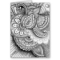 Happy Birthday Damask Indian Mandala Blank Inside Card  #blackandwhite #black #white #wedding #birthday #greetingcard #blankcard #greeting #blank #card #thankyou #graduation #floral #flowers #henna #mehndi #graduation #bridal #shower #baby #feminine #pattern