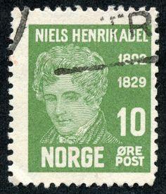 "Norway 1929 Scott 145 10ø green ""Niels Henrik Abel"""