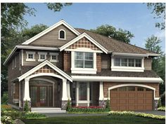 Eplans Craftsman House Plan - Oversized, Columned Entry Porch Welcomes You Home - 3151 Square Feet and 4 Bedrooms from Eplans - House Plan Code House Plans And More, House Floor Plans, Craftsman Style House Plans, Craftsman Houses, Craftsman Exterior, House Front, Front Porch, My Dream Home, Future House
