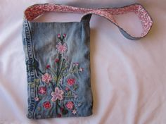 Upcycled Embroidered Jeans Purse for girls One of a by amayakind, $19.00