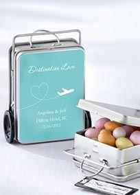 Mini suitcase wedding favours.