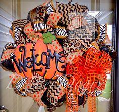 Animal Print Welcome Pumpkin deco mesh Wreath by DzinerDoorz, $115.00