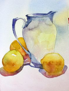 laura's watercolors: lemons and white jug again – – Art - Malen Watercolor Fruit, Fruit Painting, Easy Watercolor, Watercolor Landscape, Abstract Watercolor, Watercolor Illustration, Watercolour Painting, Watercolor Flowers, Watercolours