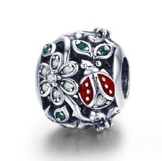 BAMOER 925 Sterling Silver Fashion Red Ladybug Flower Wonderland Cubic Zircon Charms fit Bracelets Bangles Jewelry Making Solid Silver Bracelets, Silver Beads, Silver Charms, Charms Pandora, Pandora Bracelets, Bracelet Charms, Diy Bracelet, Charm Bracelets, Bracelets En Argent Sterling