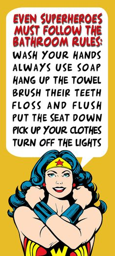 Bathroom Decor Superhero Wonder Woman Bathroom Rules by Woofworld