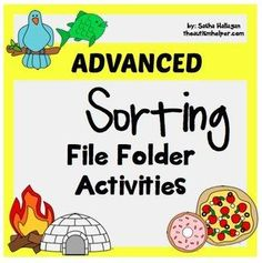 Instructions and printables to make 11 file folder activities to practice complex sorting!  by theautismhelper.com