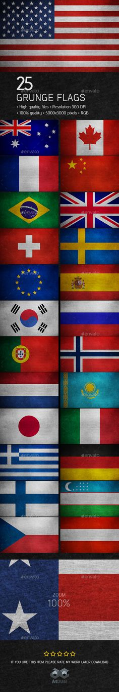 25 Grunge Flags - 25 Countries by ArtChase Description: 25 grunge flags of 25 countries around the world. The collection includes national flags in the style of grunge: Aus