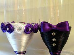 Handmade purple wedding champagne flutes
