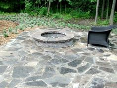 Rock Fire Pit With Sitting Wall And Two Flagstone Entryways. | Fire Pits |  Pinterest | Rock Fire Pits, Flagstone And Fire Pit Patio