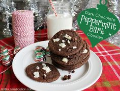 Dark Chocolate Peppermint Bark Cookies at ALittleClaireification.com #holidays #cookies #recipe