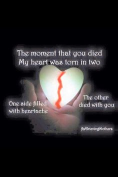 The moment that you died, my heart was torn in two♥