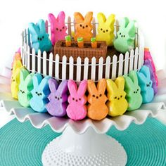 Make this Peep-centric cake as an edible Easter dinner centerpiece!