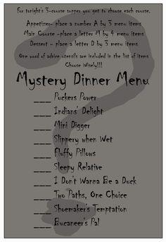 Mystery Dinner Date Night