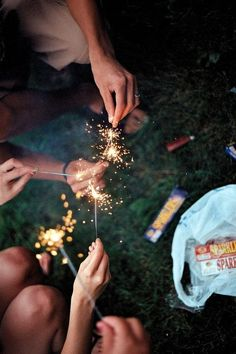 Sparklers on the Fourth of July #celebrate #redwhiteandblue