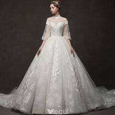 Vintage / Retro Ivory See-through Wedding Dresses 2019 Ball Gown High Neck Puffy. - Bridal Gowns Vintage / Retro Ivory See-through Wedding Dresses 2019 Ball Gown High Neck Puffy. Puffy Wedding Dresses, Western Wedding Dresses, Princess Wedding Dresses, Modest Wedding Dresses, Ball Dresses, Ball Gowns, Dresses With Sleeves, Wedding Wallpaper, Bridal Gowns