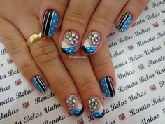 Nails Decorated with Perfect Stripes. See step by step and various models - Decoration and Fashion Today Tips, You Nailed It, Simple Designs, Nail Designs, Projects To Try, Stripes, Polish, Nail Art, Nails