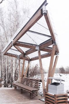 """The riverside terrace on Tatyshev Island / OOO """"ADM"""" - Architecture Lab Timber Structure, Shade Structure, Veranda Pergola, Riverside Terrace, Large Backyard Landscaping, Shelter Design, Temporary Structures, Pergola Attached To House, Canopy Design"""