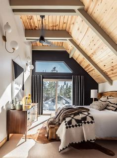 Before and After: An Unloved A-Frame Turned Retro-Inspired Retreat: gallery image 14 Van Norden Lodge is an ode to the glory days of cabin life. The style inspiration is Chalet Design, Cabin Design, Design Design, Modern Design, A Frame Cabin, A Frame House, Cabin Homes, My Dream Home, Bedroom Decor
