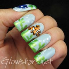 Fingerfood's Theme Buffet: Under The Sea - A manicure using Jessica Bikini Blue, Girly Bits Cosmic Ocean, All That Jazz Ice Ice Baby, Misa, ...