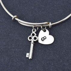 Key Bangle, Sterling Silver Bangle, Key Bracelet, Expandable Bangle, Personalized Bracelet, Charm Bangle, Initial Bracelet, Monogram by BangleLand on Etsy