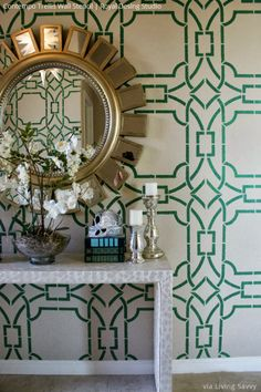 Modern stencil pattern from Royal Design Studio for wall home decor DIY