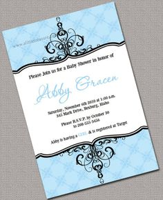 Printable Baby Shower Invitations Boys Blue by alittletreasure, $13.50