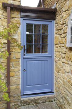 Stratfield design stable door in a Blue Grey finish. Manufactured in Engineered Meranti Hardwood. Timber Front Door, Timber Windows, Double Front Doors, External Front Doors, External Wooden Doors, Somerset Cottage, Cottage Front Doors, Garage Door Styles, Carriage Doors