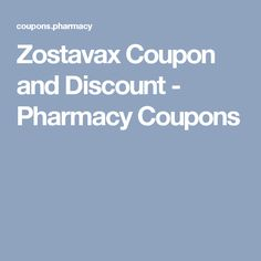 Zostavax discount coupon