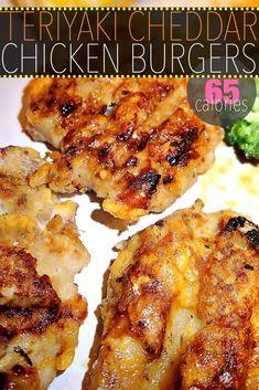 65 Calorie Teriyaki Cheddar Chicken Burgers! – Simply Taralynn New Recipes, Dinner Recipes, Cooking Recipes, Sandwich Recipes, Diabetic Recipes, Vegan Recipes, No Calorie Foods, Low Calorie Recipes, Gourmet