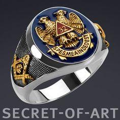 $160 Masonic Aasr 32 Degree Master 925 Silver Ring 24K Gold Plated Fine Enamel | eBay