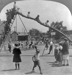 Old photograph of vintage play equipment that would be deemed too dangerous by today's stricter playground guidelines.