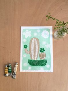 Green Cactus Print  Charming Cactus Poster  Riso by MARENTHEshop