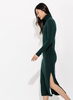 Women's Long Sleeve Turtleneck Dress | Eliis Midi Dress $58