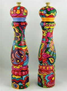 Painted Candlesticks, Funky Kitchen, Mckenzie And Childs, Funky Painted Furniture, Altered Tins, China Patterns, Bohemian Decor, Boho, Pepper Mills